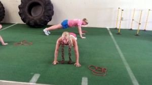 Pushups with chains at FITT Warehouse Gym Newnan GA